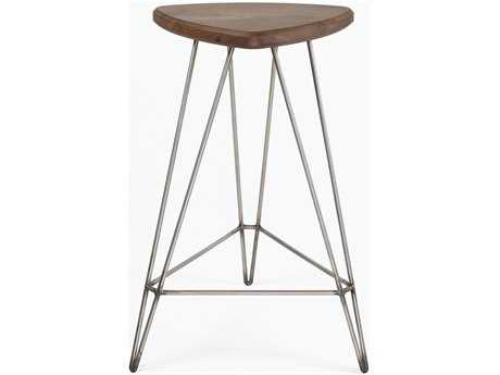 Tronk Design Madison Walnut & Stainless Steel Counter Stool