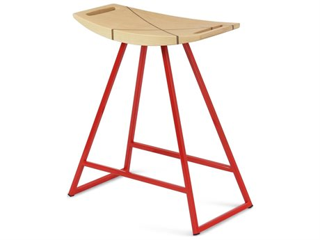 Tronk Design Robert Maple Red Side Table Height Stool TROROBMPLTBLINLRD