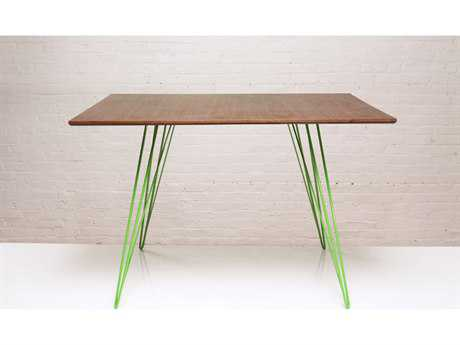 Tronk Design Williams Walnut & Green 46'' x 40'' Rectangular Dining Table