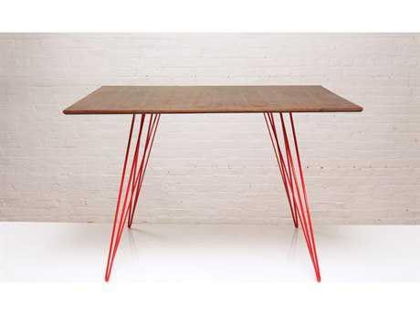 Tronk Design Williams Walnut & Red 46'' x 40'' Rectangular Dining Table