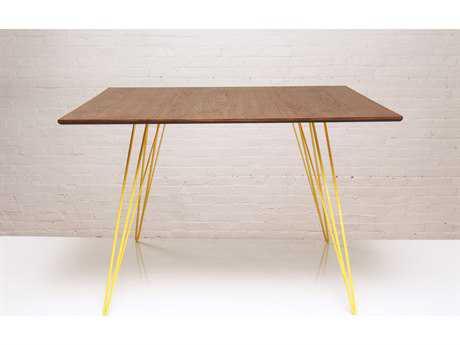 Tronk Design Williams Walnut & Yellow 46'' x 40'' Rectangular Dining Table