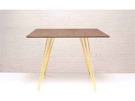 Tronk Design Williams Walnut & Yellow 40'' Square Dining Table