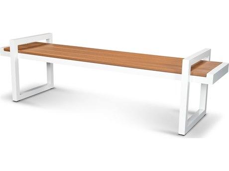 Trex® Outdoor Furniture Century 72'' Bench in Satin White / Tiki Torch PatioLiving