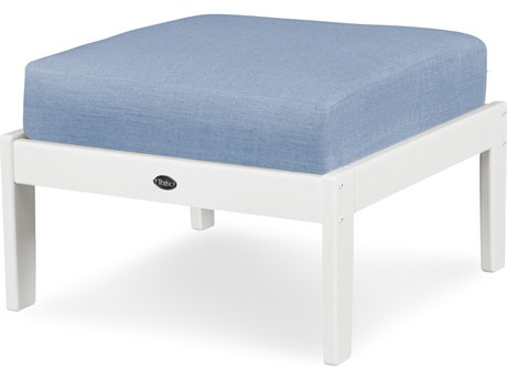 Trex Outdoor Furniture Yacht Club Deep Seating Ottoman in Classic White / Cast Ocean