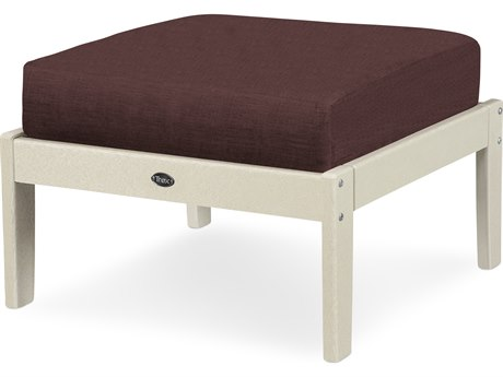 Trex Outdoor Furniture Yacht Club Deep Seating Ottoman in Sand Castle / Cast Currant