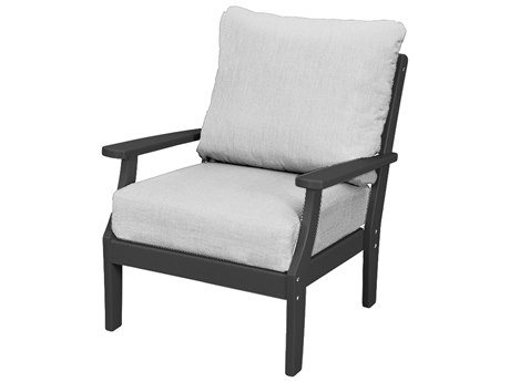 Trex Outdoor Furniture Yacht Club Deep Seating Lounge Chair in Charcoal Black / Bird's Eye