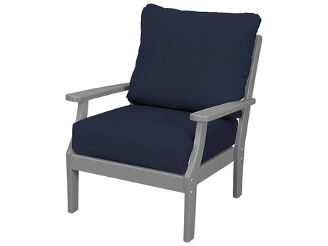 Trex Outdoor Furniture Yacht Club Deep Seating Lounge Chair in Stepping Stone / Navy