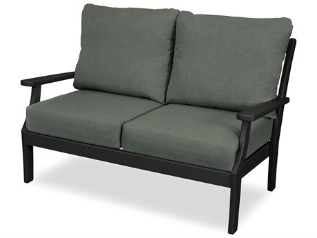 Trex Outdoor Furniture Yacht Club Deep Seating Loveseat in Charcoal Black / Cast Sage