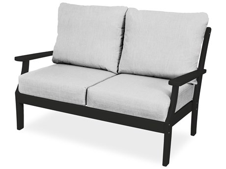 Trex Outdoor Furniture Yacht Club Deep Seating Loveseat in Charcoal Black / Bird's Eye