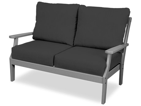 Trex Outdoor Furniture Yacht Club Deep Seating Loveseat in Stepping Stone / Spectrum Carbon
