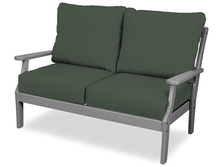 Trex Outdoor Furniture Yacht Club Deep Seating Loveseat in Stepping Stone / Cast Sage