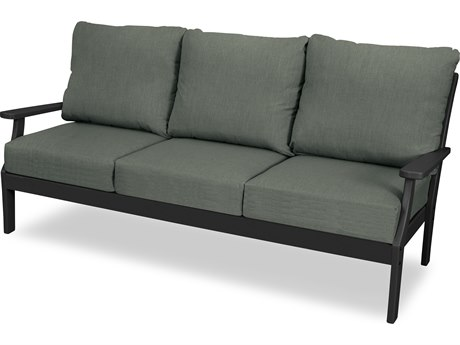Trex Outdoor Furniture Yacht Club Deep Seating Sofa in Charcoal Black / Cast Sage