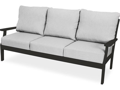 Trex Outdoor Furniture Yacht Club Deep Seating Sofa in Charcoal Black / Bird's Eye