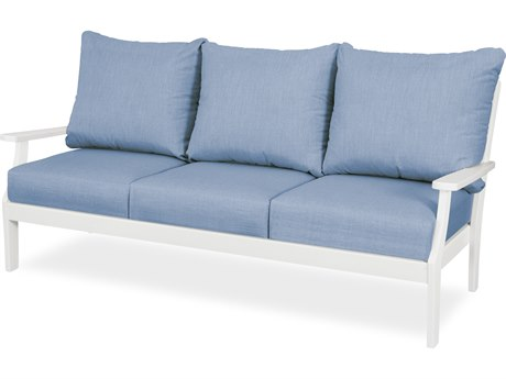 Trex Outdoor Furniture Yacht Club Deep Seating Sofa in Classic White / Cast Ocean