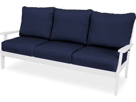Trex Outdoor Furniture Yacht Club Deep Seating Sofa in Classic White / Navy