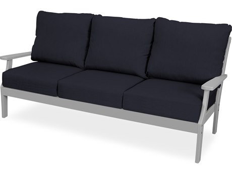 Trex Outdoor Furniture Yacht Club Deep Seating Sofa in Stepping Stone / Navy