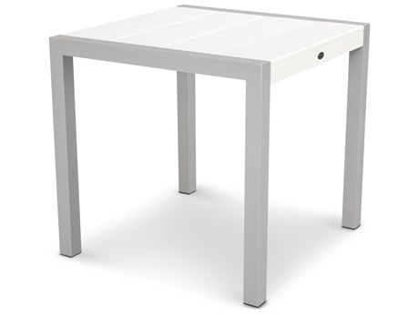 Trex® Outdoor Furniture Surf City 30'' Dining Table in Textured Silver / Classic White
