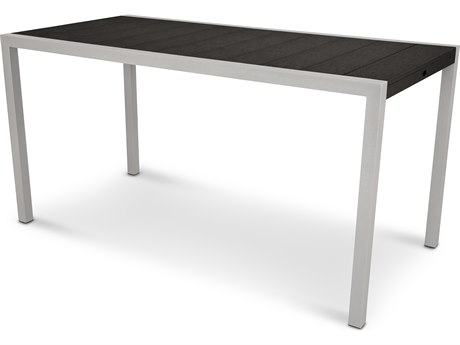 Trex® Outdoor Furniture Surf City 36'' x 73'' Counter Table in Textured Silver