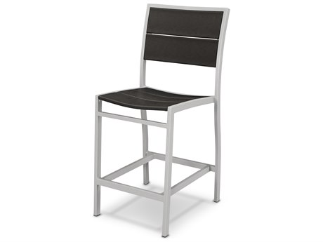Trex® Outdoor Furniture Surf City Counter Side Chair in Textured Silver