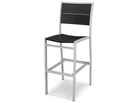 Trex® Outdoor Furniture Surf City Bar Side Chair in Textured Silver