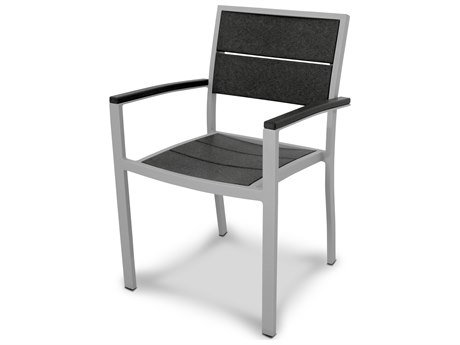Trex® Outdoor Furniture Surf City Dining Arm Chair in Textured Silver