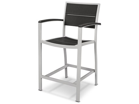 Trex® Outdoor Furniture Surf City Counter Arm Chair in Textured Silver
