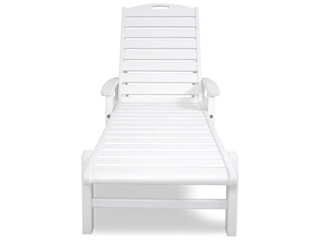 Trex® Outdoor Furniture Yacht Club Chaise with Arms - Stackable in Classic White