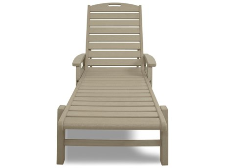 Trex® Outdoor Furniture Yacht Club Chaise with Arms - Stackable in Sand Castle