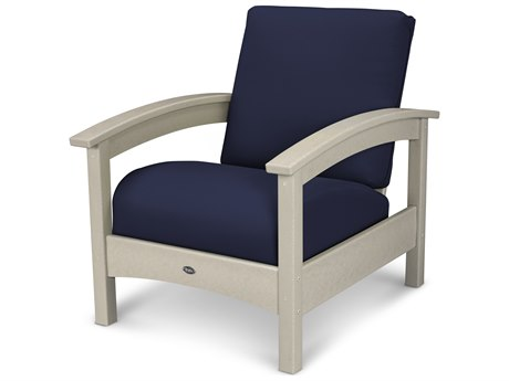 Trex® Outdoor Furniture Rockport Club Chair in Sand Castle / Navy TRXTXC23SC5439