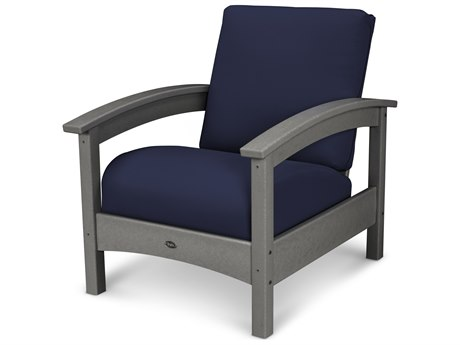 Trex® Outdoor Furniture Rockport Club Chair in Stepping Stone / Navy TRXTXC23SS5439