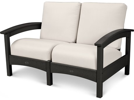 Trex® Outdoor Furniture Rockport Club Settee in Charcoal Black / Bird's Eye TRXTXC47CB5472