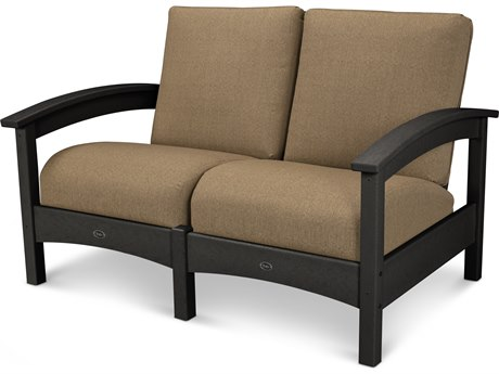 Trex® Outdoor Furniture Rockport Club Settee in Charcoal Black / Sesame TRXTXC47CB8318