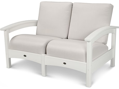Trex® Outdoor Furniture Rockport Club Settee in Classic White / Bird's Eye TRXTXC47CW5472