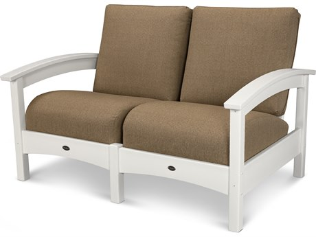 Trex® Outdoor Furniture Rockport Club Settee in Classic White / Sesame TRXTXC47CW8318