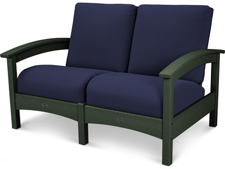 Trex® Outdoor Furniture Rockport Club Settee in Rainforest Canopy / Navy TRXTXC47RC5439