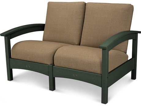Trex® Outdoor Furniture Rockport Club Settee in Rainforest Canopy / Sesame TRXTXC47RC8318