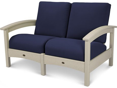 Trex® Outdoor Furniture Rockport Club Settee in Sand Castle / Navy TRXTXC47SC5439