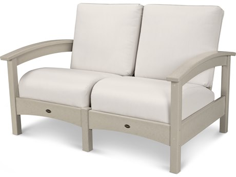 Trex® Outdoor Furniture Rockport Club Settee in Sand Castle / Bird's Eye TRXTXC47SC5472