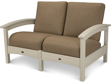 Trex® Outdoor Furniture Rockport Club Settee in Sand Castle / Sesame TRXTXC47SC8318