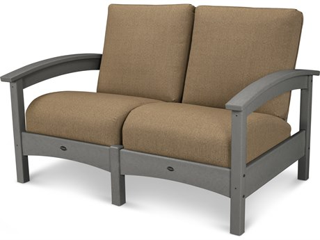 Trex® Outdoor Furniture Rockport Club Settee in Stepping Stone / Sesame TRXTXC47SS8318