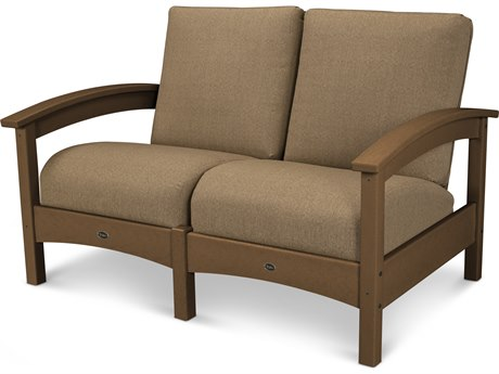 Trex® Outdoor Furniture Rockport Club Settee in Tree House / Sesame TRXTXC47TH8318