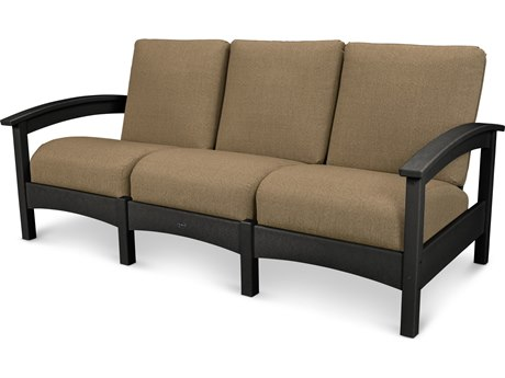 Trex® Outdoor Furniture Rockport Club Sofa in Charcoal Black / Sesame TRXTXC71CB8318
