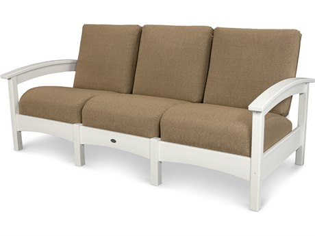 Trex® Outdoor Furniture Rockport Club Sofa in Classic White / Sesame TRXTXC71CW8318