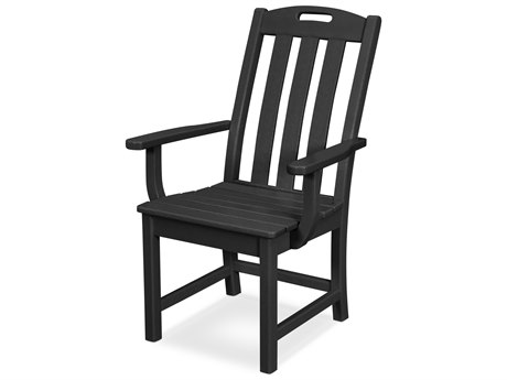 Trex Outdoor Furniture Yacht Club Dining Arm Chair in Charcoal Black