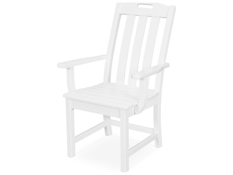 Trex Outdoor Furniture Yacht Club Dining Arm Chair in Classic White
