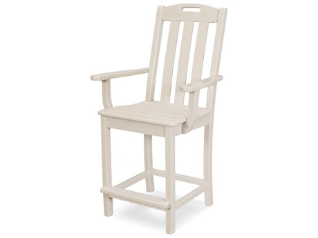 Trex Outdoor Furniture Yacht Club Counter Arm Chair in Sand Castle