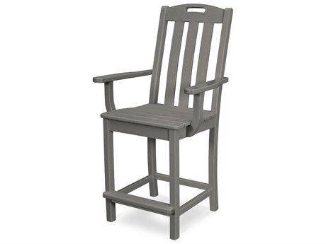 Trex Outdoor Furniture Yacht Club Counter Arm Chair in Stepping Stone