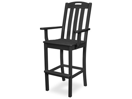 Trex Outdoor Furniture Yacht Club Bar Arm Chair in Charcoal Black