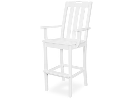 Trex Outdoor Furniture Yacht Club Bar Arm Chair in Classic White