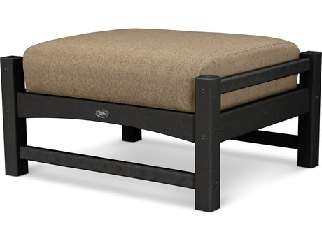 Trex® Outdoor Furniture Rockport Club Ottoman in Charcoal Black / Sesame TRXTXO23CB8318